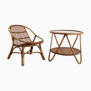 Rattan Armchair and Side Table Set, 1960s, Set of 2