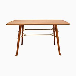 Tavolino da caffè in ciliegio e ottone, anni '50