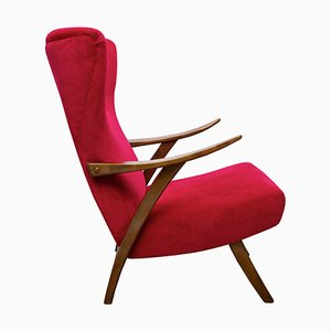 Oxblood Red Lounge Chair, 1950s