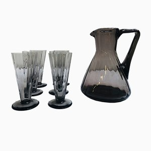 Art Deco Smoked Glass Juice Set, 1920s, Set of 7