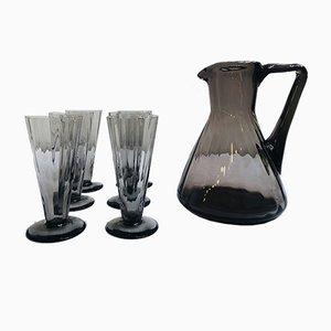 Art Deco Smoked Glass Juice Set, 1920s, Set of 7
