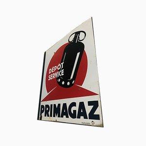 Doppelseitiges Mid-Century Emailleschild von Primagaz, 1960er