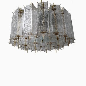 Large Mid-Century Ice Glass Tubes and Brass Fixture Chandelier, 1960s