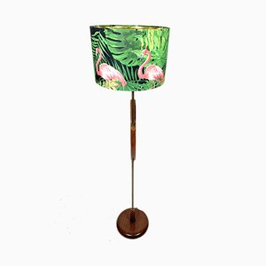 Mid-Century Wooden Floor Lamp with Flamingo Shade, 1960s