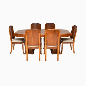 Art Deco Walnut Dining Table & Chairs, 1920s, Set of 7