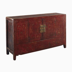 Antique Chinese Red and Gold Sideboard