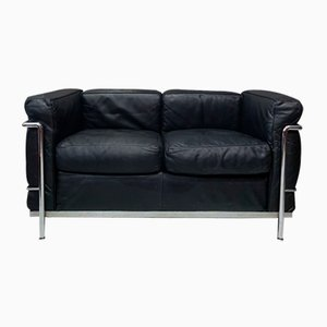 Leather LCL Sofa by Le Corbusier & Pierre Jeanneret for Cassina, 1980s
