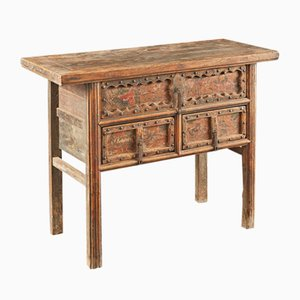 Antique Carved Wooden Table with Three Drawers