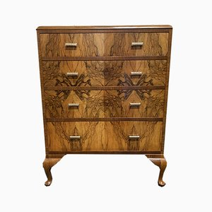 Art Deco Burr Walnut Chest of Drawers, 1929