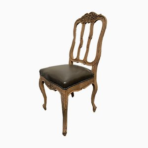 Antique French Oak & Leather Dining Chairs, Set of 6