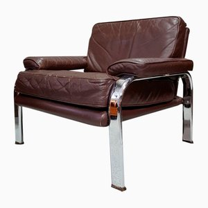 Brown Leather & Chrome Armchair, 1970s