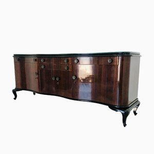 Dark Wood & Glass Sideboard, 1950s
