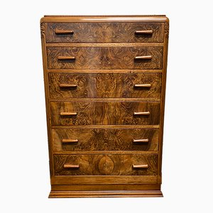 Art Deco Burr Walnut Chest of Drawers, 1930s