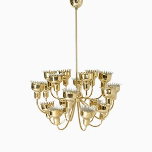 Brass Chandelier by Hans Bergström for Ateljé Lyktan, 1940s