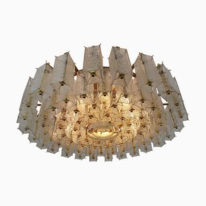 Large Mid-Century Structured Glass and Brass Chandelier, 1960