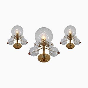 Mid-Century Brass Fixture and Structured Glass Table Lamps, 1970s