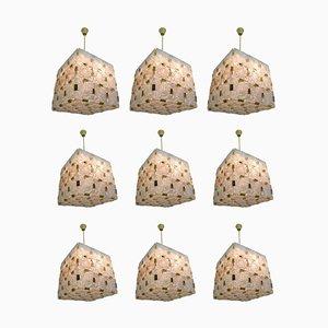 Grand Lustre Mid-Century en Laiton avec 36 Éléments Géométriques en Verre de Cristal, 1960