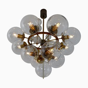 Large Brass and Hand Blown Glass Hotel Chandelier, 1960s