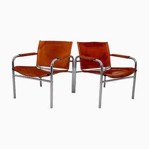 Mid-Century French Patinated Cognac Leather Tubular Armchairs, 1960s, Set of 2