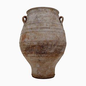 Grande Urne Antique en Forme de Trois Places Peinte en Terracotta