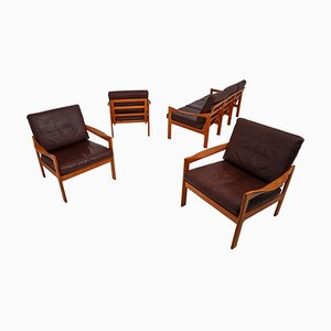 Teak Living Room Set by Illum Wikkelsø for Eilersen, 1960s, Set of 4