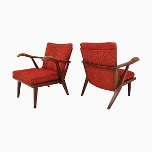 Czech Lounge Chairs with Sculptural Oak Wooden Frame, 1950s, Set of 2