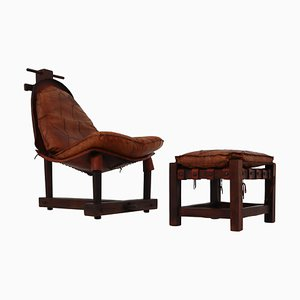 Brazilian Cognac Leather Chair and Ottoman, 1960s, Set of 2