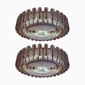 Large Chandelier in Structured Glass and Brass, 1960s