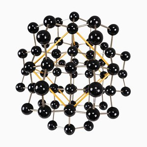 Mid-Century Molecular Structure from Prague in Black and Yellow, 1950s