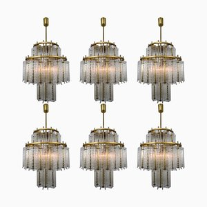 Austrian Brass and Structured Ice Glass Chandeliers, 1960s, Set of 6