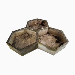 Large Hexagon Shaped Planters by Willy Guhl, 1960s, Set of 3