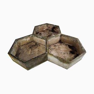 Pots de Fleurs Hexagonaux par Willy Guhl, 1960s, Set de 3