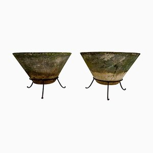 Large Garden Stone Planters on Stands by Willy Guhl, 1960s, Set of 2