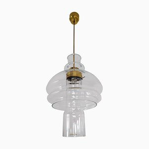 Lampada a sospensione in vetro trasparente e ottone, anni '60