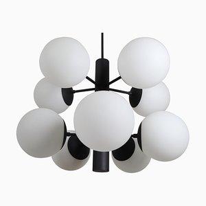 Lustre en Structure Moléculaire avec Dix Globes en Verre Opalin Soufflé, 1960s