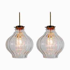 Glass and Brass Pendant Lamps, 1960s, Set of 2