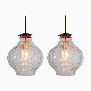 Lampes à Suspension en Laiton et Verre, 1960s, Set de 2