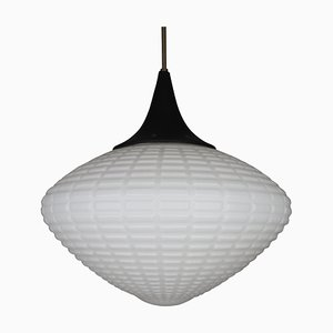 Large Structured Opaline Glass Pendant Lamp, 1960s