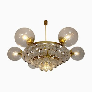 Chandelier with Brass Fixture and Structured Glass Globes, 1960s