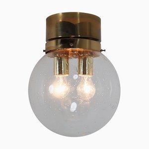 Deckenlampe mit Messingrahmen und großer mundgeblasener Glaskugel, 1970er
