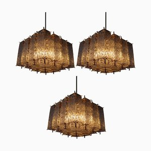 Chandelier in Structured Glass and Brass, 1960s