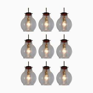 Lampe à Suspension avec Verre Transparent et Laiton, 1960s