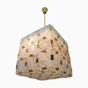 Brass Chandelier with 36 Geometric Cut Crystal Glass, 1960s
