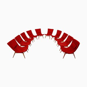 Red Fabric Lounge Chairs by Miroslav Navratil, 1959, Set of 10