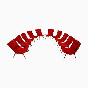 Sessel aus Rotem Stoff von Miroslav Navratil, 1959, 10er Set