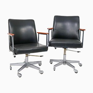 Modern Black Leather Office Armchairs from Mauser Werke, 1960s, Set of 2