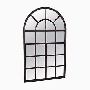 Großes Industrielles Französisches Gewölbtes Gusseisen Fenster mit Spiegel, 1800er