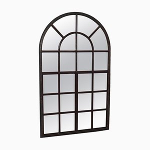 Large Industrial French Cast Iron Arched Window with Mirror, 1800s