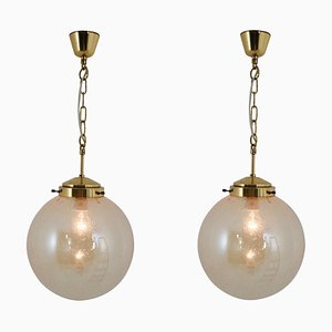 Brass and Smoked Glass Globe Pendant Lamp, 1970s, Set of 2
