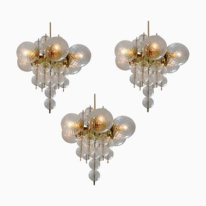 Brass Chandeliers from Preciosa, 1960s, Set of 3